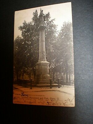 Old postcard, Soldiers Monument and Park, Elyria, O. , 1907