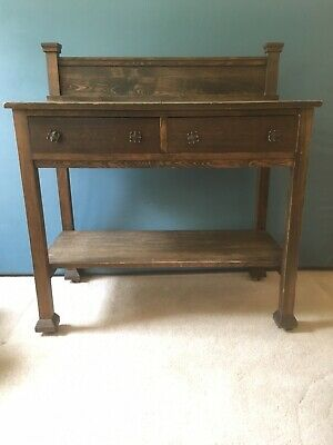 Antique Library Table Oak, Arts and Crafts, Side Board, Vintage