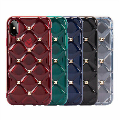 3D Rivet Crystal Diamond Case For iPhone Xs Max XR X 8 7 TPU Silicone Soft Cover