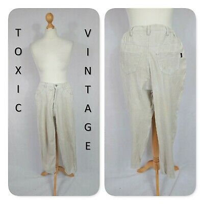 VINTAGE 90s IVORY CORD HIGH WAIST TROUSERS. UK 6. PREPPY RETRO GEEK CHIC PETITE