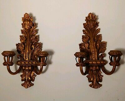 PAIR of Antique Wall Sconce Double Candles Gold Gilt Wood Carved Acanthus Leaf