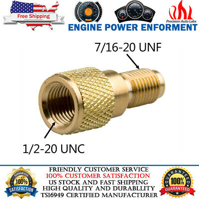 """R12 to R134A Brass Adapter Fitting 1/4"""" Male to 1/2"""" ACME Female With valve core"""