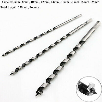 6mm-25mm Auger Wood Drill Bit Hex Shank Extra Long 230mm-460mm Joiner Fast Cut