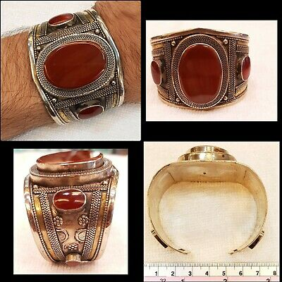 Beautiful Old Silver Vintage Afghan Bangle Cuff with Ancient Red Agate Stone