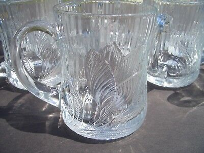 Classic Arcoroc Canterbury Crocus Embossed Clear Glass Cups Or Mugs, Set Of 8