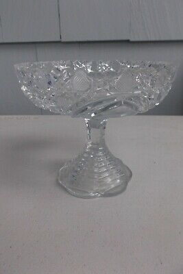 Vintage American Brilliant Cut Glass Small Pedestal Compote Candy/Nut Dish