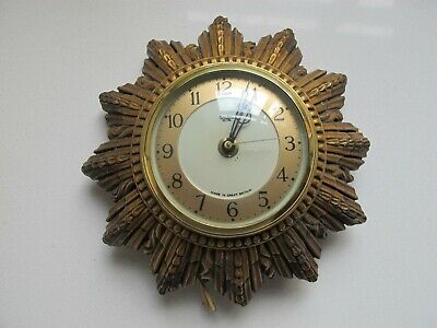 Vintage Original  Smiths Wall Clock Gold Art Deco Sunburst Plaster