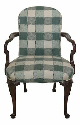 F47699EC: HICKORY CHAIR CO Queen Anne Mahogany Upholstered Arm Chair