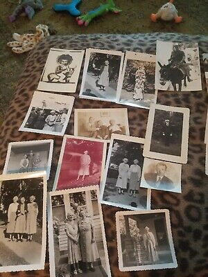 Lot of 16 Original Random B&W Old Photos Vintage Snapshots & 4 vintage postcards