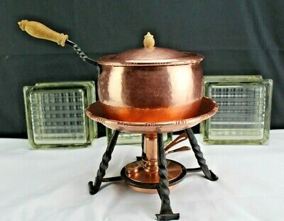 Vintage Swiss Copper and Wrought Iron and Wood Cookware-Chafing Dish with Sterno