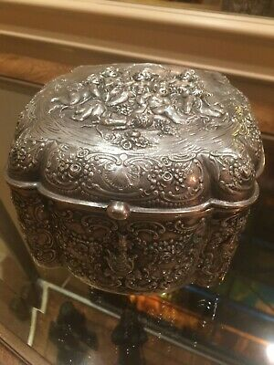German 800 Silver Victorian Repousse Box from 1800's Cherubs design  1 lb 15oz.