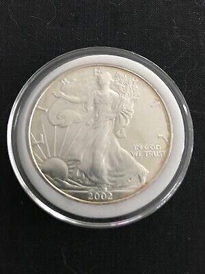 2002 Silver American Eagle 1oz US $1 Dollar Mint Brilliant Uncirculated Capsule