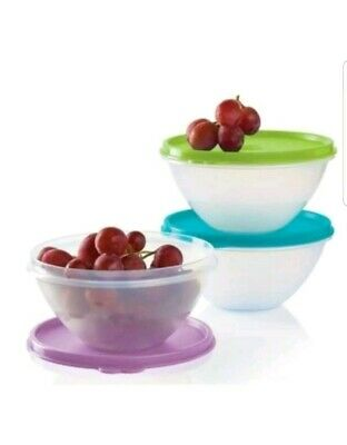 Tupperware NEW 3 pc Small Wonderlier 2 cup Bowl Set Seals