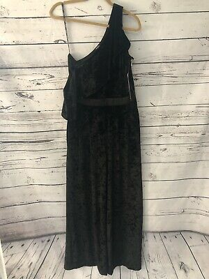 NWT XOXO Black Velvet Velour Ruffled One Shoulder Jumpsuit Sz L Wide Leg Gold Zi