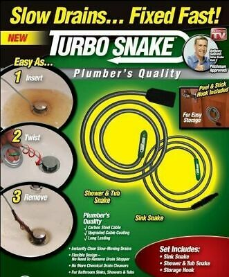 Turbo Snake Flexible Stick Drain Opener Professional Quality No Chemicals Sink