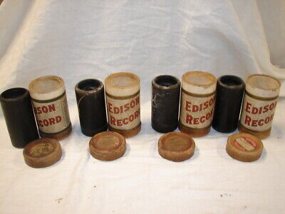 Antique Lot 4 Edison Phonograph Cylinder Music Record 1908 Tube & Cap