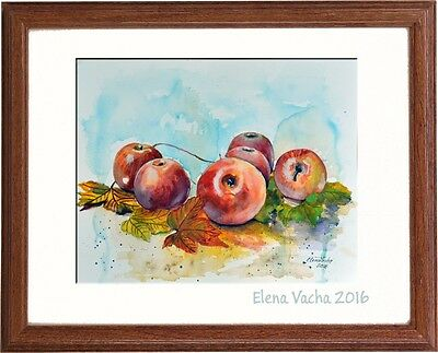 """Still life fruit red apples watercolor painting 11""""x14"""" Wall Art For Kitchen"""