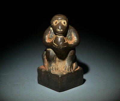 Wonderful Chinese Ancient Stone Carving The Monkey Holding A Peach Statue 3.54""