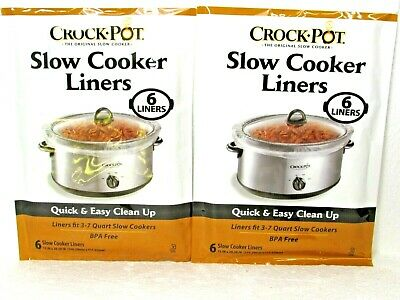 GENUINE Crock-pot Liners slow cooker Liners 2 PACK LOT 3-7 QT 12 LINERS TOTAL