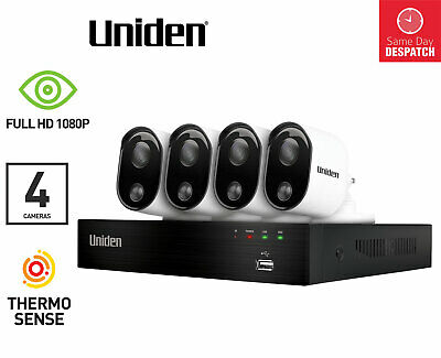 UNIDEN GUARDIAN GDVR 20440 FULL HD 1080p 4 CHANNEL SECURITY SYSTEM CAMERAS 1TB