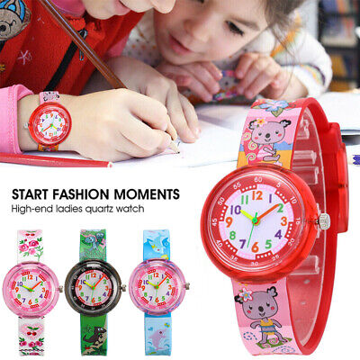 Kids Cartoon Watch Boys Girls Sports Wrist Children Pointer Table Snap Silicone