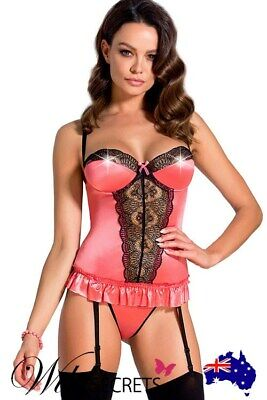 NEW Casmir Rosalie Pink Soft-Fit Corset with Thong, Bustier, Wild Secrets