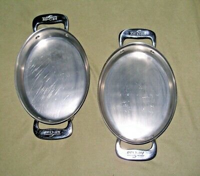"""Two """"All-Clad"""" Stainless Steel Small Oval Au Gratin Pans 7""""x5.5"""""""