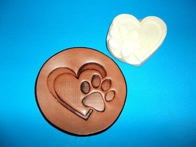 """Pet Paw in Heart Leather  Emboss Plate 2 1/2"""" x 2 3/4"""""""