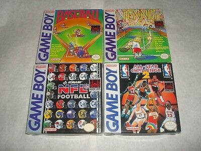 Lot of 4 Nintendo Game Boy games with boxes (Baseball Tennis All Star Challenge)