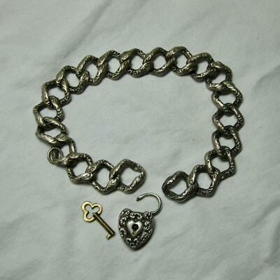 """Victorian Puffy Heart Bracelet Sterling Silver Lock and Key c1870 7"""" Repousse"""