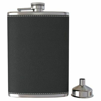 Pocket Hip Flask 8 Oz with Funnel Stainless Steel with Black Leather Wrapped 6N6