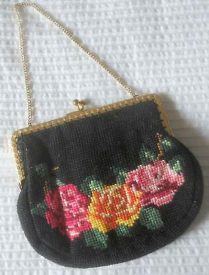 Vintage 1960'S Hand Worked Tapestry Roses Design Evening Bag Purse