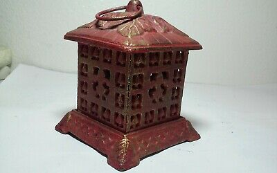 Vintage? cast iron bank Asian building,house