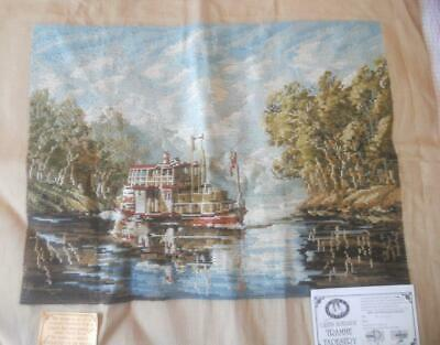 Vintage Tramme Tapestry Canvas Riverboat On The Murray No Yarn Included
