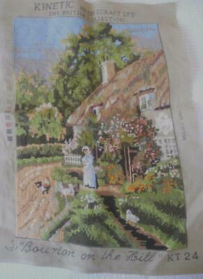 Vintage Completed Kinetic Tapestry Bourton On The Hill Cottage Garden