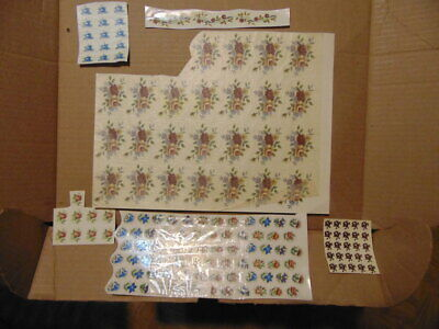 Vintage Lot Ceramic Glass Decals Transfers Flower Rose Waterslide