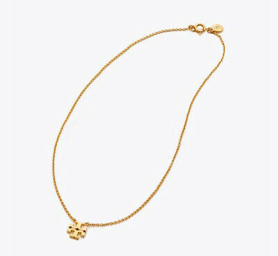 TORY BURCH Logo Charm Delicate short Necklace Rolled Brass