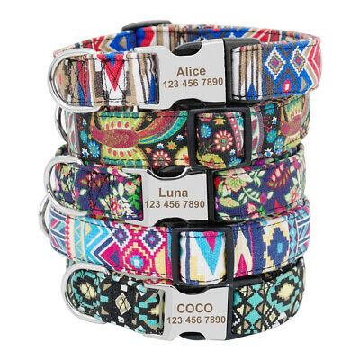 Nylon Heavy Duty Buckle Personalised Dog Collar Puppy ID Name Laser Engraved SML