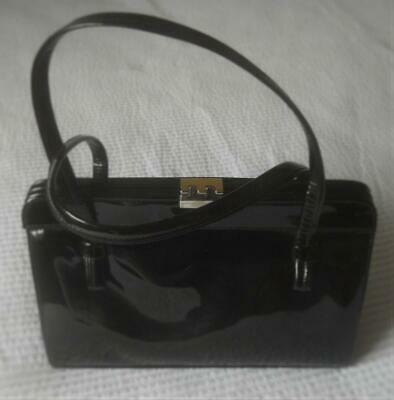 VINTAGE 1950s 1960s RONES MADE NSW BLACK PATENT LEATHER HAND BAG