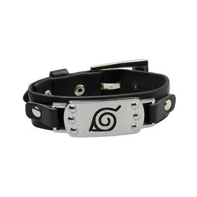 Anime Naruto Wristband Leaf  Village Badge PU Bracelet Cosplay Costume Prop Gift