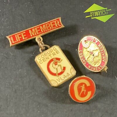 Lot X3 Vintage Coburg Centre Victorian Athletics Womens Enamelled Badges