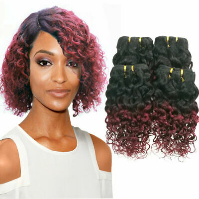 Ombre Kinkys curly Tissage Naturel Cheveux bresilien Boucles Vierge Humain Weave
