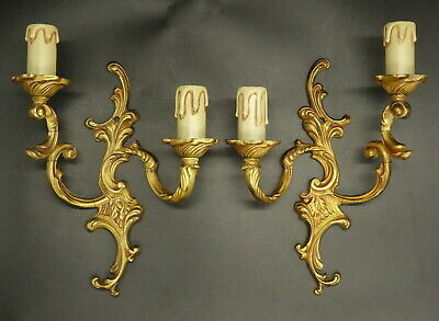 Pair Of Sconces Rococo Style - Bronze - French Antique