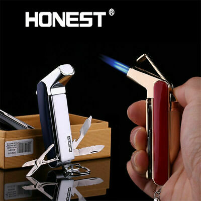 Honest Windproof Double Nozzles Torch Flame Butane Jet Cigar Gas Fuel Lighter