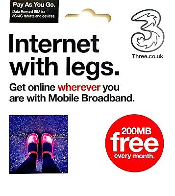 Three (3) PAYG Mobile Broadband Data Sim Card 200MB FREE Every Month No Top Up!