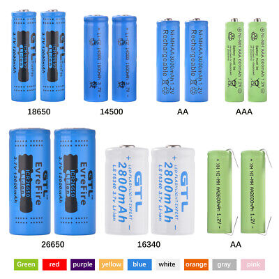 18650/26650/16340/14500/AA/AAA 600-12000mAh Lithium/NiMH Batterie Rechargeable