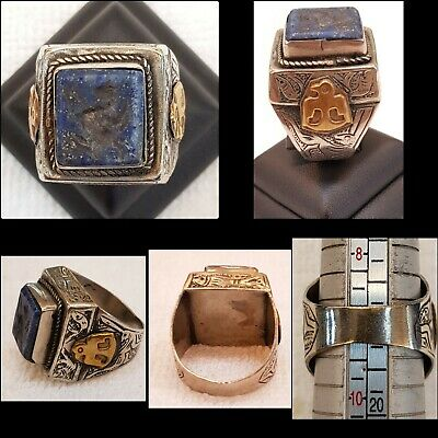 Old Silver Wonderful Ring With Gold Plated Symbol And Lapis lazuli Stone