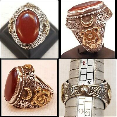 Ancient Old Yamani Agate Stone Very Old Silver Unique And Rare Old Antique Ring