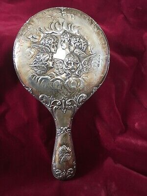 Antique Solid Silver Ornate Angels & Cherubs Mirror, William Aitken, 1910