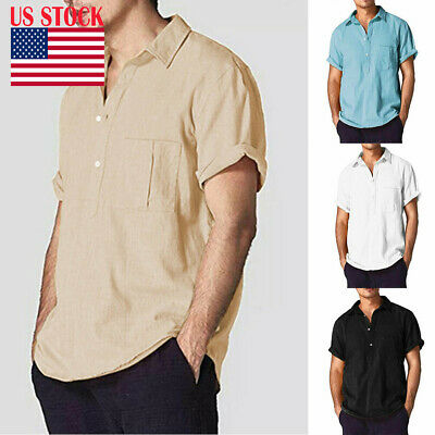 Men's Linen Cotton Short Sleeve Shirt Summer Loose Casual V-Neck Shirts Tops 3XL